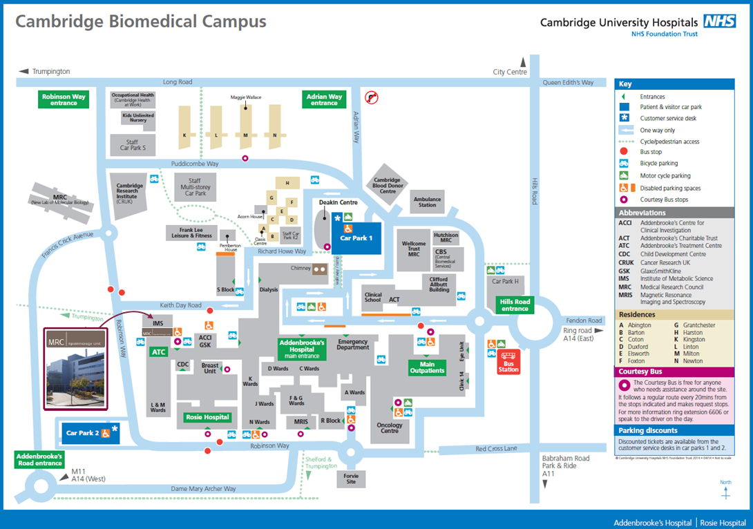 Map of Cambridge Biomedical Campus showing the location of the MRC Epidemiology Unit IMS site.