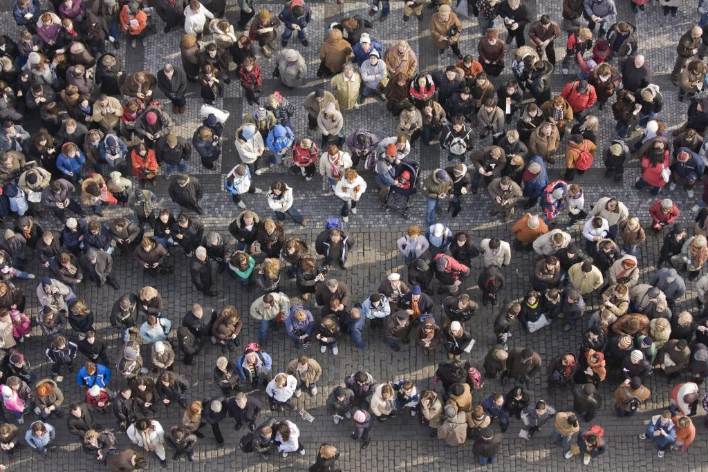 Photo looking down at a crowd