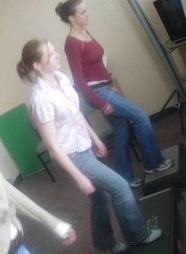 Photo of study volunteers performing step test